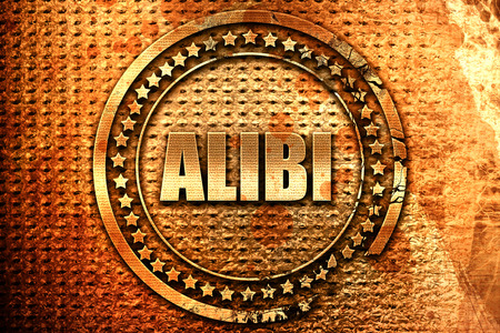 juror: alibi, 3D rendering, grunge metal text Stock Photo
