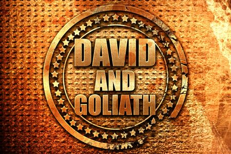 david and goliath: david and goliath, 3D rendering, grunge metal text Stock Photo