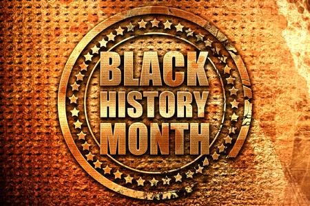 black history month, 3D rendering, grunge metal text