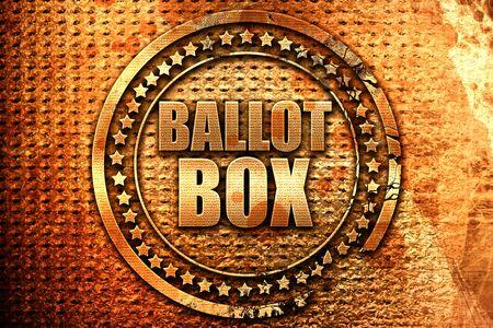 ballot box, 3D rendering, grunge metal text Stock Photo