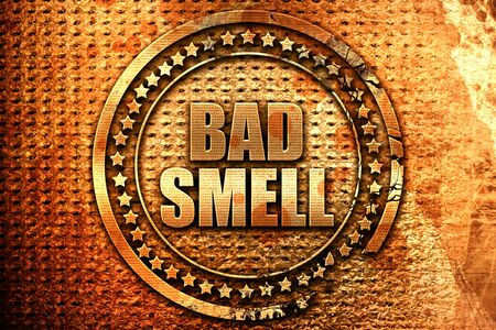 bad smell, 3D rendering, grunge metal text