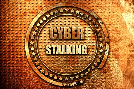 mobbing: Cyber stalking background with some smooth lines, 3D rendering, grunge metal text