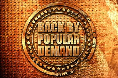 replenishing: back by popular demand, 3D rendering, grunge metal text Stock Photo
