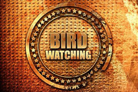 bird watching, 3D rendering, grunge metal text
