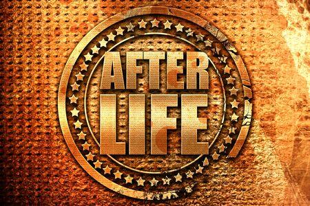 hereafter: afterlife, 3D rendering, grunge metal text