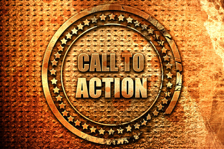 call to action, 3D rendering, grunge metal text Stock Photo