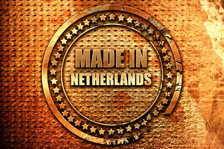 Made in the netherlands with some soft smooth lines, 3D rendering, grunge metal text Stock Photo