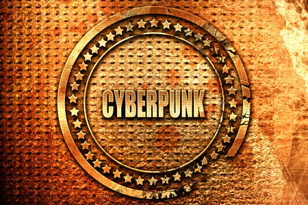 visualizing: cyberpunk, 3D rendering, grunge metal text