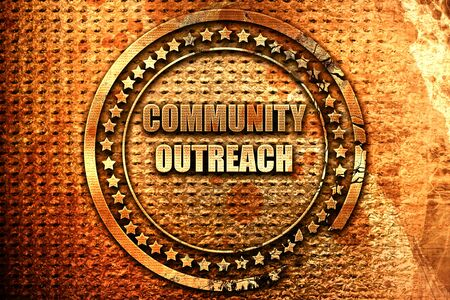 Community outreach sign with some smooth lines, 3D rendering, grunge metal text