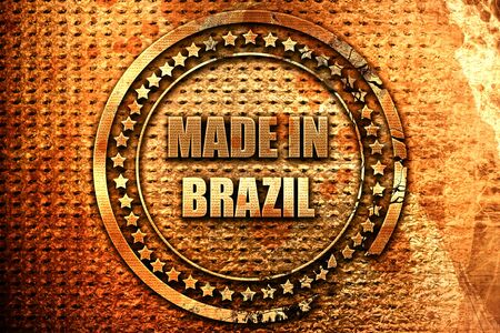 Made in brazil with some soft smooth lines, 3D rendering, grunge metal text