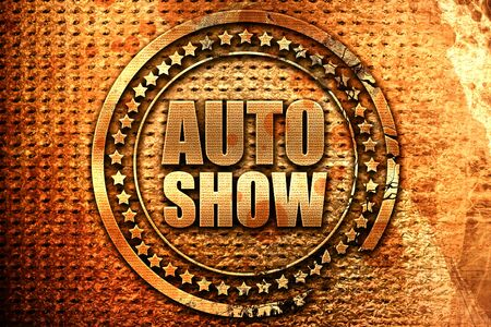 auto show, 3D rendering, grunge metal text Stock Photo