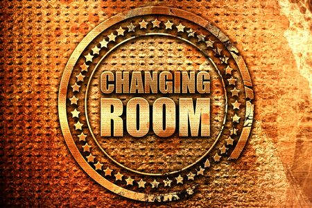 changing room: changing room, 3D rendering, grunge metal text