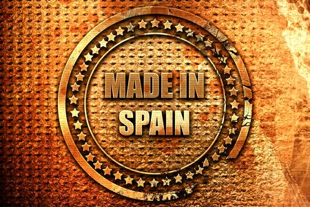 Made in spain with some soft smooth lines, 3D rendering, grunge metal text