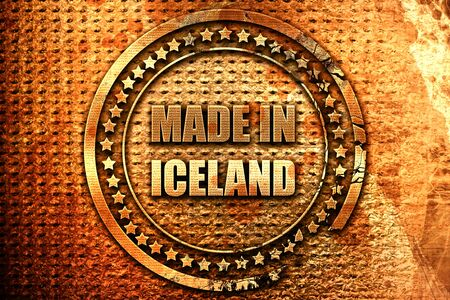 Made in iceland with some soft smooth lines, 3D rendering, grunge metal text