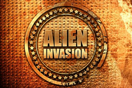 alien invasion, 3D rendering, grunge metal stamp