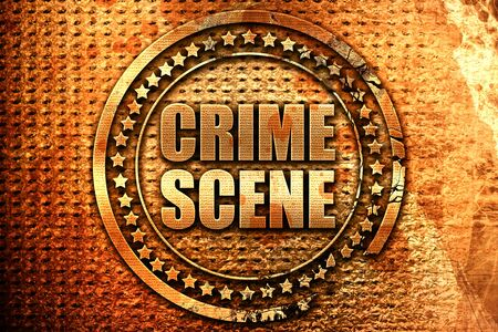 crime scene, 3D rendering, grunge metal stamp