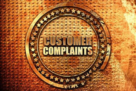customer complaints, 3D rendering, grunge metal stamp Stock Photo