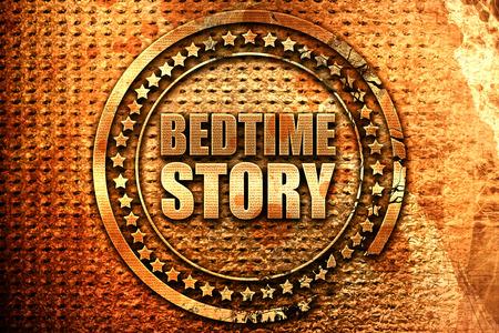 bedtime story: bedtime story, 3D rendering, grunge metal stamp