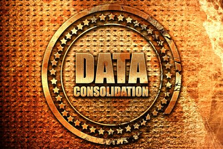 data consolidation, 3D rendering, grunge metal stamp Stock Photo