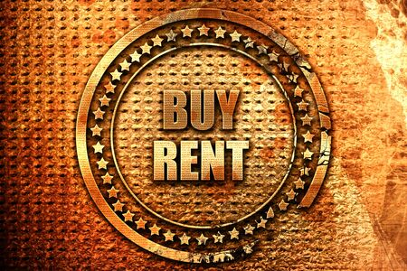 buy rent, 3D rendering, grunge metal stamp