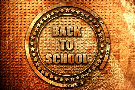 returned: back to school sign, 3D rendering, grunge metal stamp