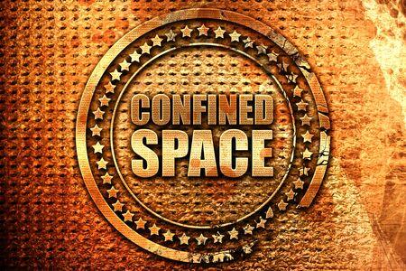 confined space, 3D rendering, grunge metal stamp