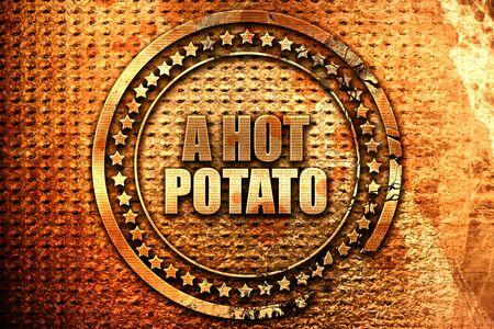 a hot potato, 3D rendering, grunge metal stamp
