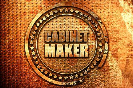 furnishings: cabinet maker, 3D rendering, grunge metal stamp Stock Photo