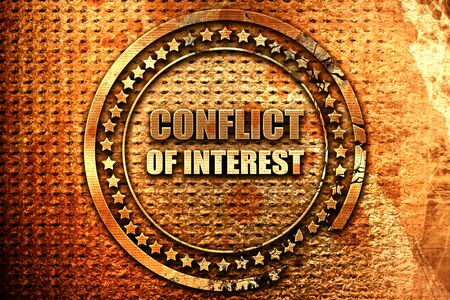 controversy: conflict of interest, 3D rendering, grunge metal stamp Stock Photo