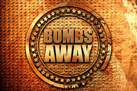 seeker: bombs away, 3D rendering, grunge metal stamp