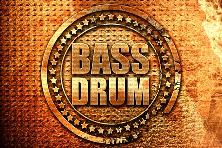 drum and bass: bass drum, 3D rendering, grunge metal stamp