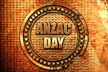 anzac day, 3D rendering, grunge metal stamp