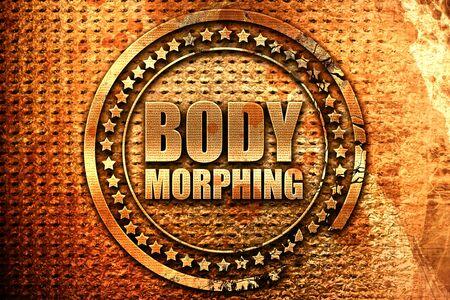 body morphing, 3D rendering, grunge metal stamp Stock Photo