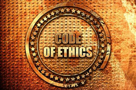 work ethic responsibilities: code of ethics, 3D rendering, grunge metal stamp Stock Photo