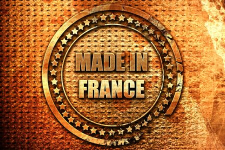 Made in france with some soft smooth lines, 3D rendering, grunge metal text