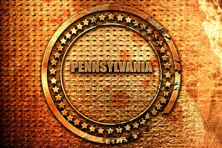 pennsylvania: pennsylvania, 3D rendering, grunge metal text
