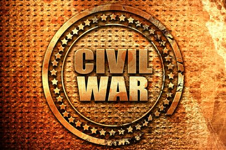 civil war, 3D rendering, grunge metal text