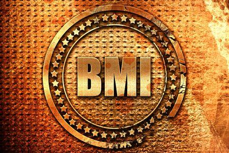 BMI: bmi, 3D rendering, grunge metal text Stock Photo
