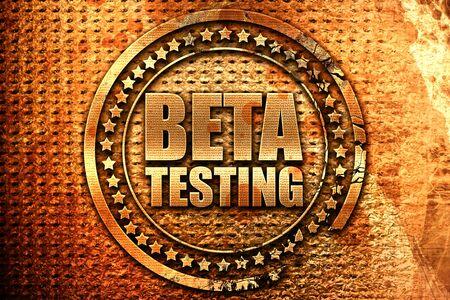 beta testing, 3D rendering, grunge metal text Stock Photo