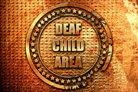 Deaf child sign with yellow and black colors, 3D rendering, grunge metal text
