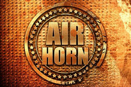 air horn, 3D rendering, grunge metal text