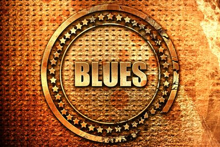 blues music: blues music, 3D rendering, grunge metal text