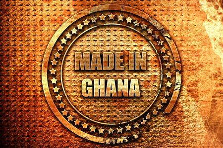 Made in ghana with some soft smooth lines, 3D rendering, grunge metal text