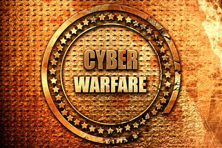 cyberwarfare: Cyber warfare background with some smooth lines, 3D rendering, grunge metal text