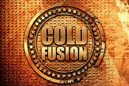 cold fusion, 3D rendering, grunge metal text Stock Photo