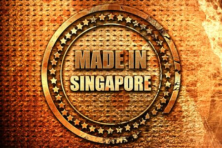 Made in singapore with some soft smooth lines, 3D rendering, grunge metal text
