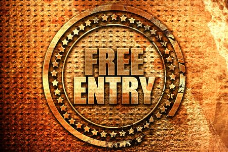free entry, 3D rendering, grunge metal text Stock Photo