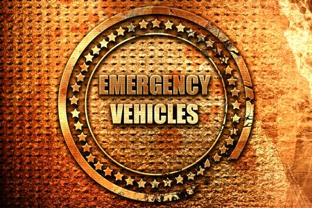 Emergency services sign with yellow and black colors, 3D rendering, grunge metal text