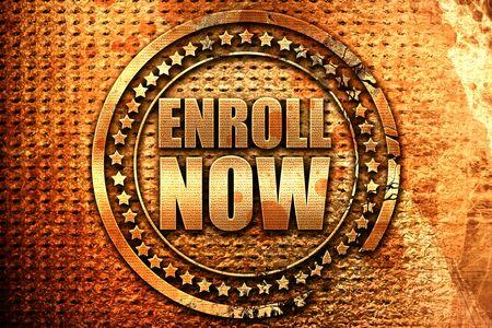 enroll: enroll now, 3D rendering, grunge metal text