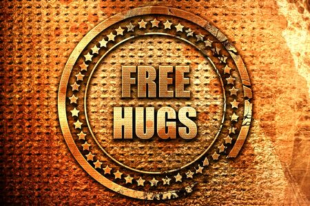 free hugs, 3D rendering, grunge metal text